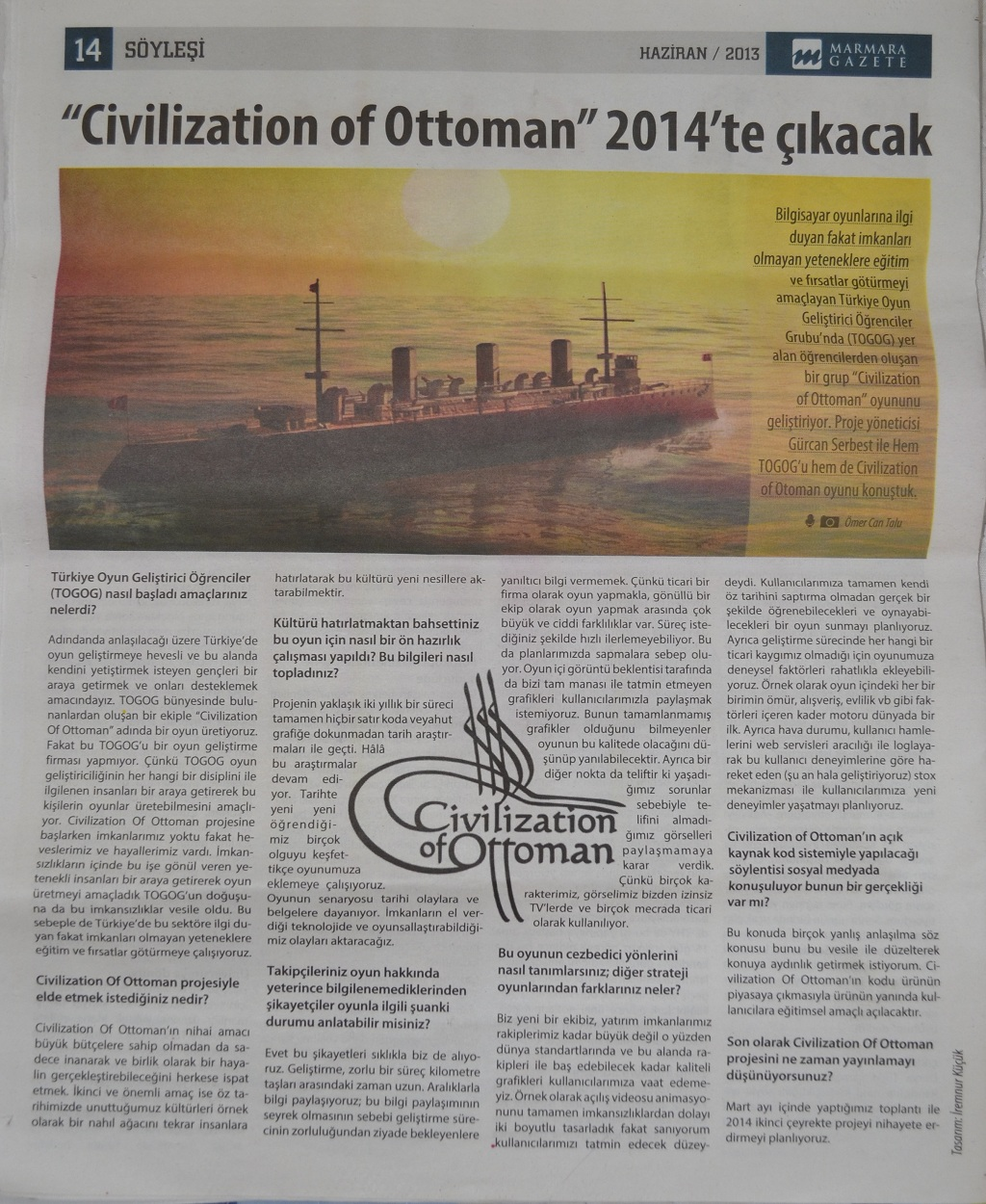 Civilization of Ottoman GAZETE