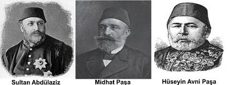 Sultan-Abdülaziz-Mithat-Paşa-Hüseyin-Avni-Paşa