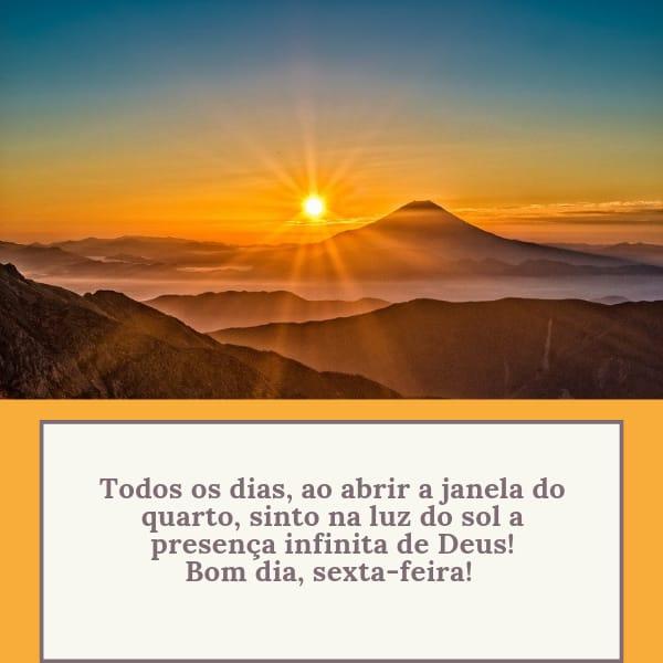 Frase bom dia sexta iluminada pelo sol