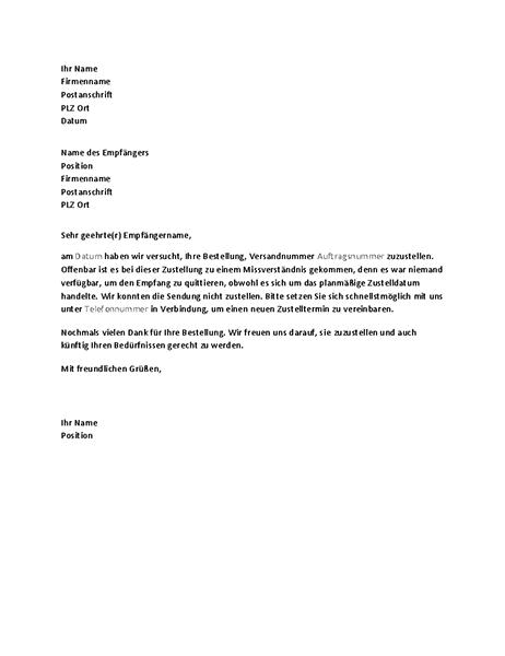 Brief zur Benachrichtigung eines Kunden ber eine verpasste Zustellung