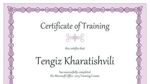 Certificate Of Training Purple Chain Design Office