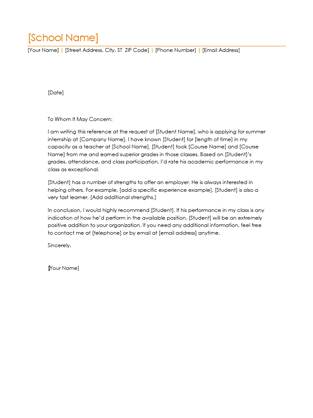 Student Reference Letter Office Templates