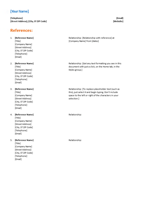 Reference List For Resume Functional Design Office Templates