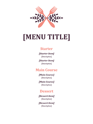 Informal Event Menu Office Templates