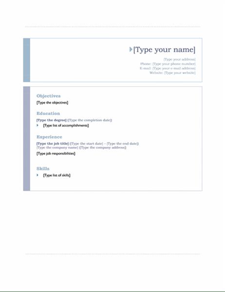 resume origin template