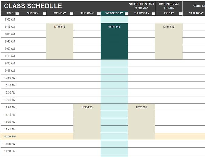 student schedule excel