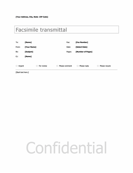 Fax Cover Sheet Microsoft Word Template Printable