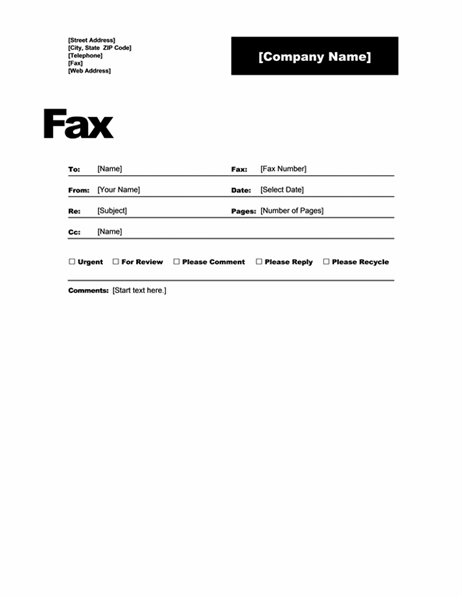 open office fax cover sheet template