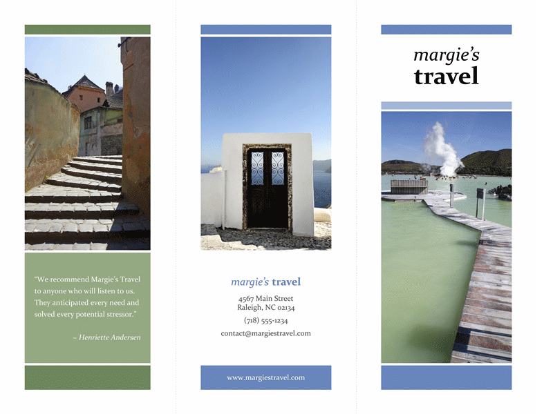 Tri Fold Travel Brochure Blue Green Design