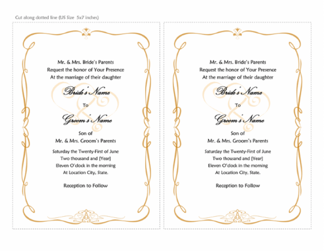 Wedding Program Heart Scroll Design