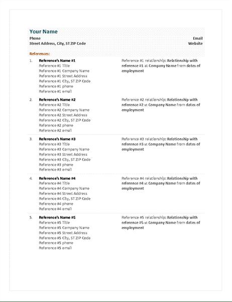 Functional resume reference sheet