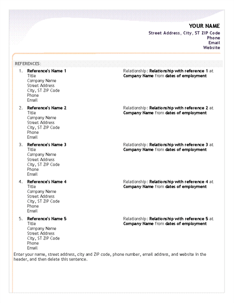 Reference Templates For Resumes Reference Template For Resume