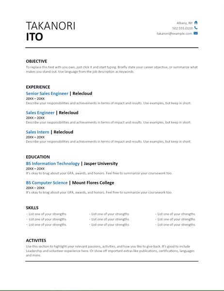microsoft 365 resume templates