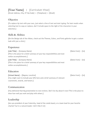 Templates Resume Word Resumes And Cover Letters Office Doent 7