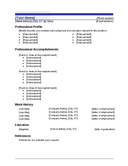 functional sales resume template for word download