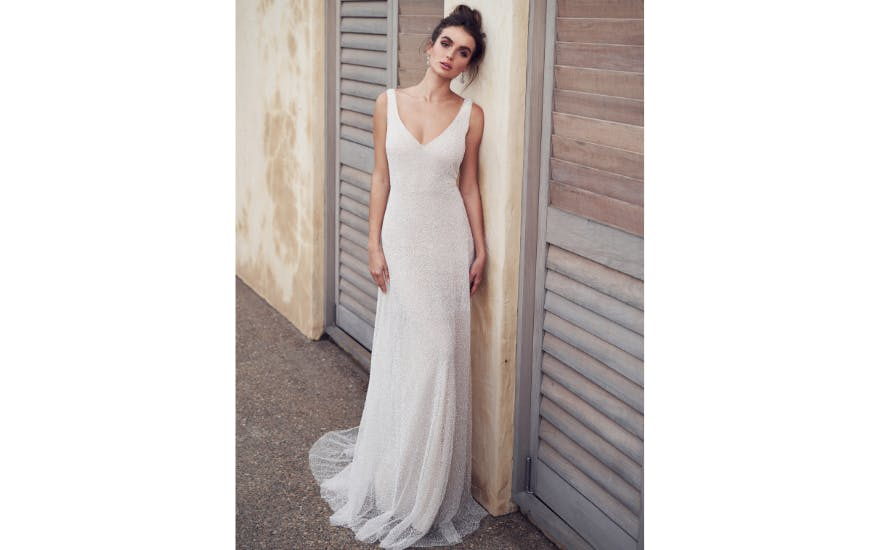 Simple Beaded Wedding Dress by Anna Campbell