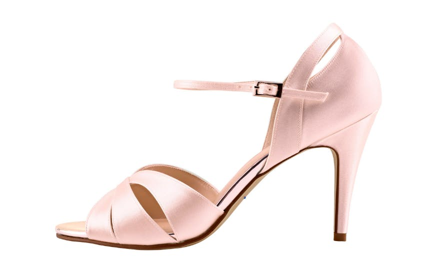 Pale Pink Open Toe Wedding Shoes by Rainbow Club
