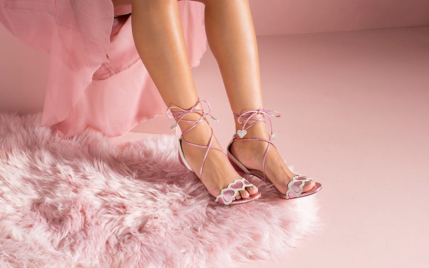 Metallic Pink Wedding Shoes with Heart Details by Charlotte Mills