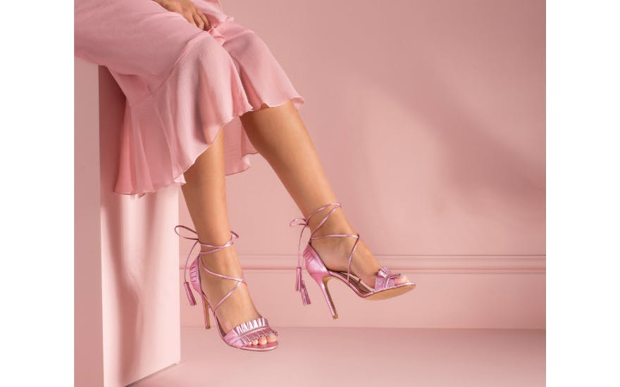 Metallic Pink Wedding Shoes with Tie Straps by Charlotte Mills