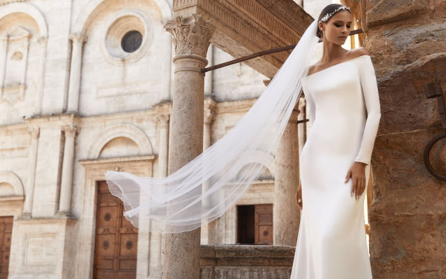 Off The Shoulder Wedding Dress with Long Sleeves by Bianco Evento