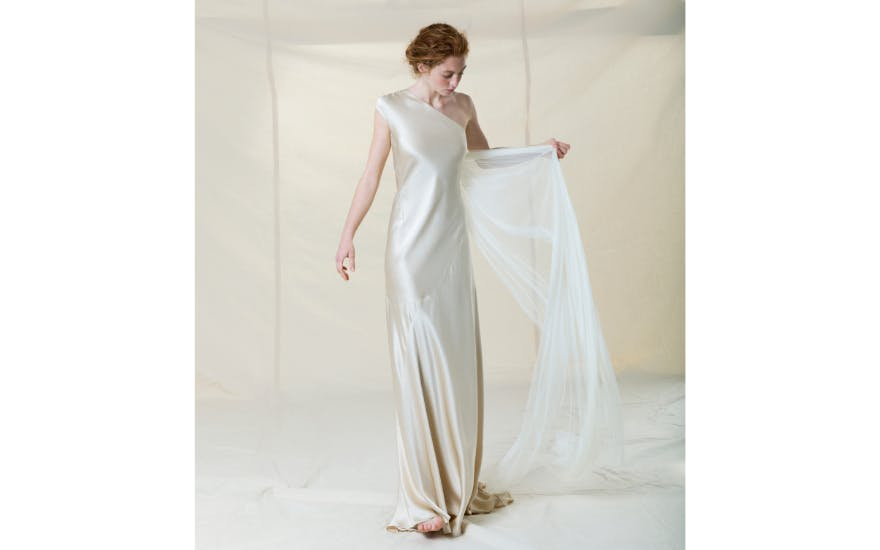 One Shoulder Silk Wedding Dress by Cortana