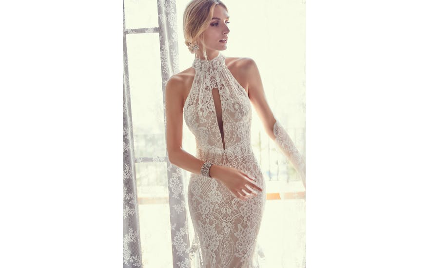 Halter Neck Lace Wedding Dress by Ronald Joyce