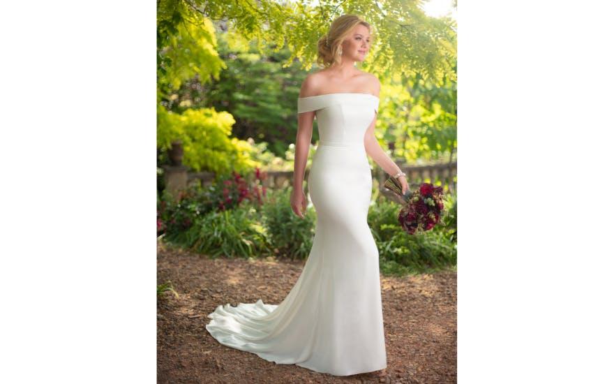 Off The Shoulder Wedding Dress by Essense of Australia