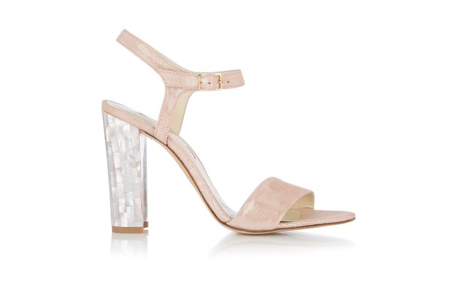 Pale Pink Open Toe Wedding Shoes with Pearl Heel by Freya Rose