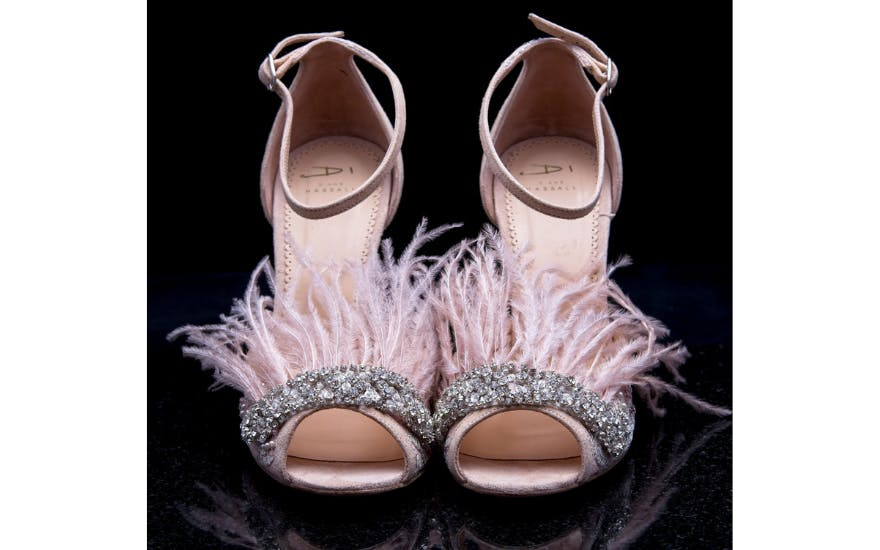 Pink Wedding Shoes with Feathers by Diane Hassall