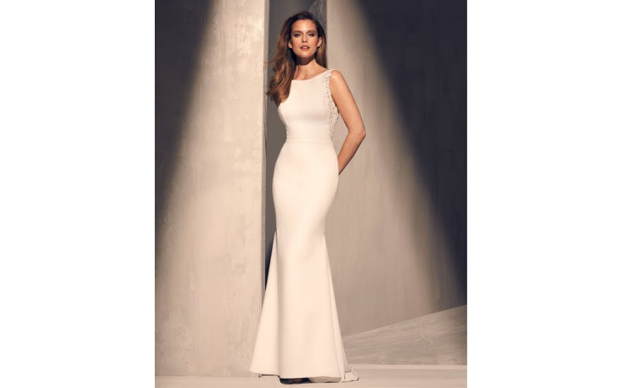 Simple Wedding Dress with High Neck by Mikaella
