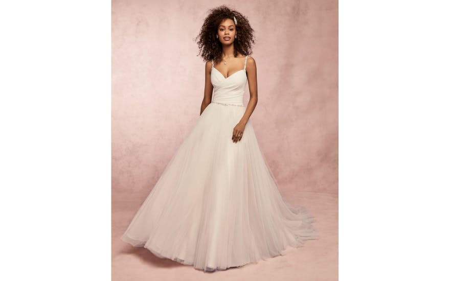 Simple Wedding Dress with Tulle Skirt by Rebecca Ingram