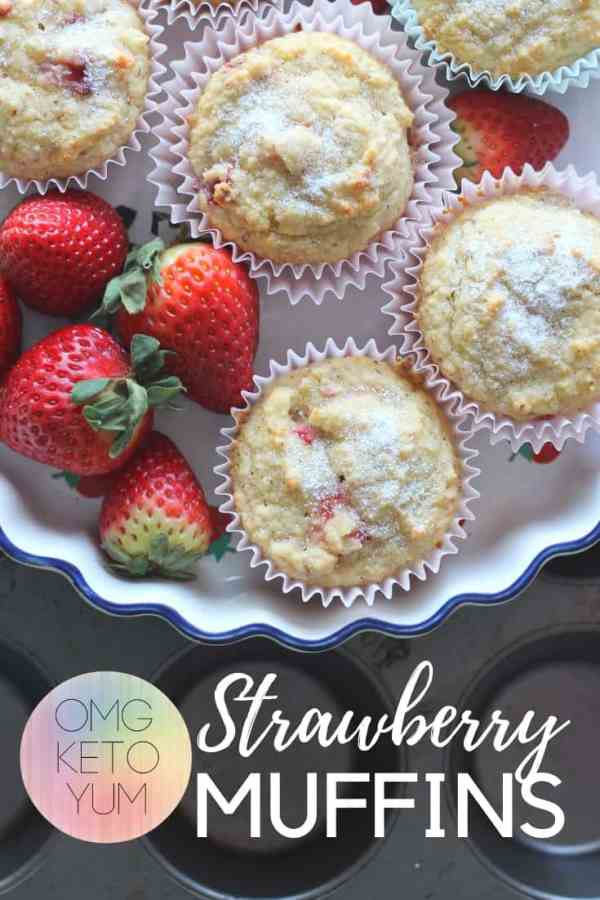 Strawberry Muffins and strawberries on a white plate.