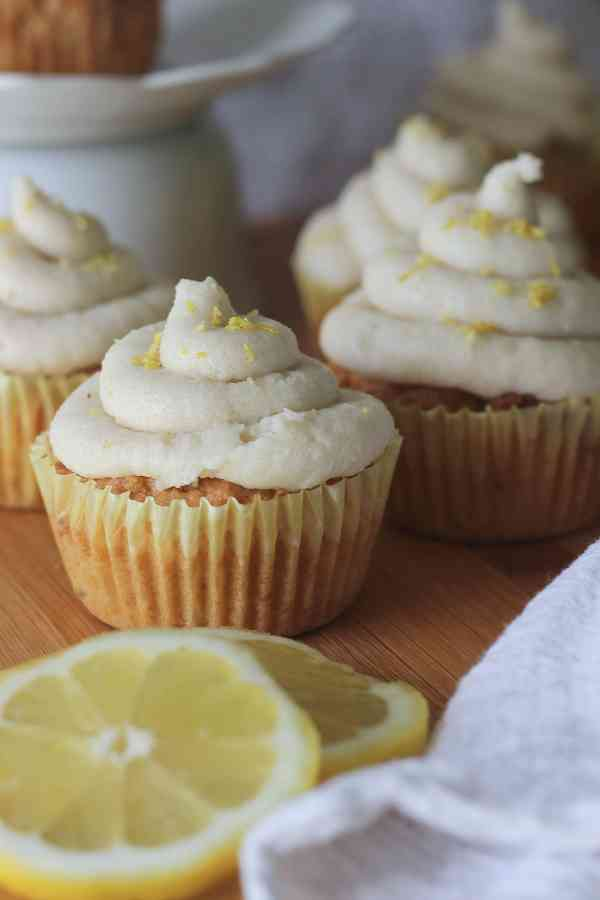Keto Lemon Cupcakes with Dairy free frosting. Easy Low Carb Lemon Cupcakes.