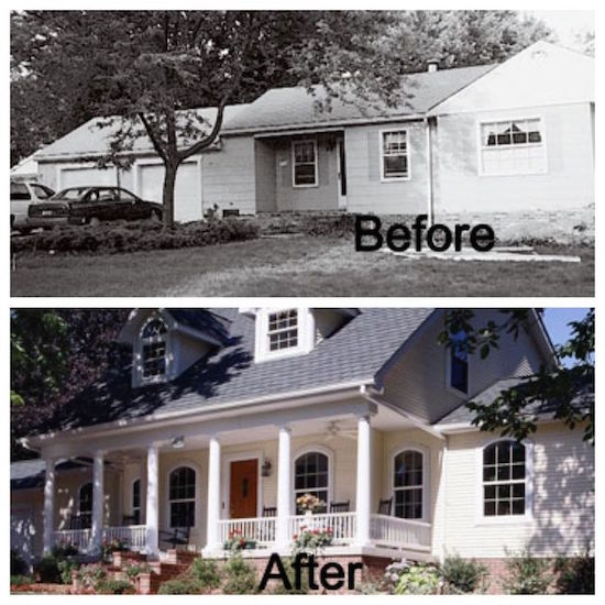 Front porch and second floor addition completely changes the exterior of this home