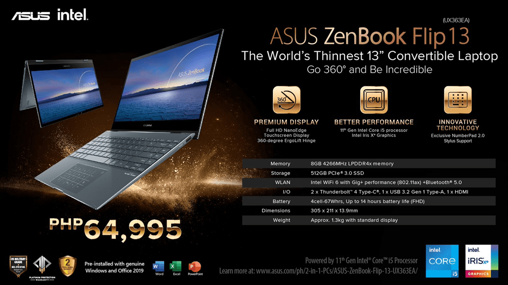 The ASUS ZenBook Flip 13 - The world's Thinnest 13' Convertible Laptop With Full I/O Ports