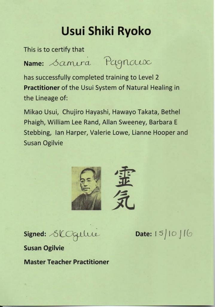 Certificat reiki Samira Pagnoux