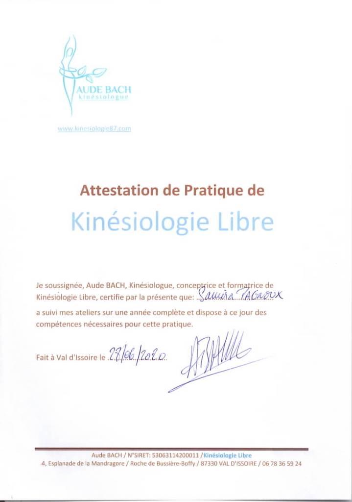 attestation kinésiologie libre Samira Pagnoux