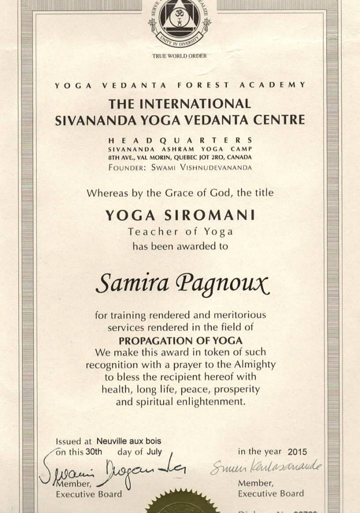 diplôme yoga Samira Pagnoux