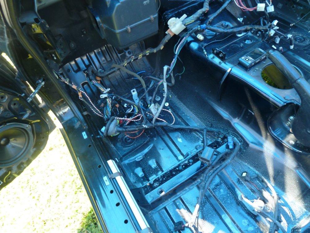 medium resolution of splitting open the back harness to remove unwanted wiring stuff like headrest speaker wiring and seatbelt sensors