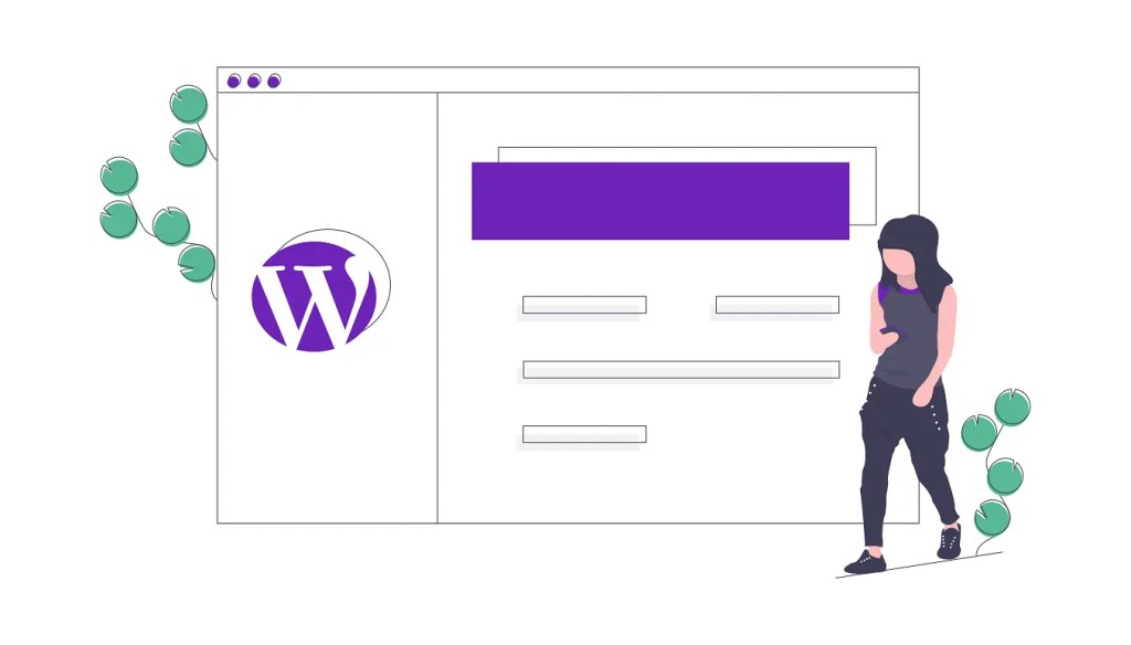 woman designing a WordPress Website