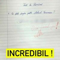 """INCREDIBIL! Testul notat cu 2, dar devenit viral pe internet. Cum răspunde un elev la întrebarea: Ce știți despre M. Eminescu"""""""