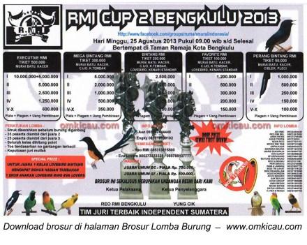 Brosur Lomba Burung Berkicau RMI Cup 2, Bengkulu, 25 Agustus 2013
