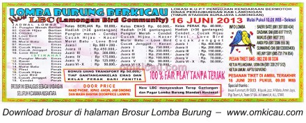 Brosur Lomba Burung New LBC Lamongan 16 Juni 2013