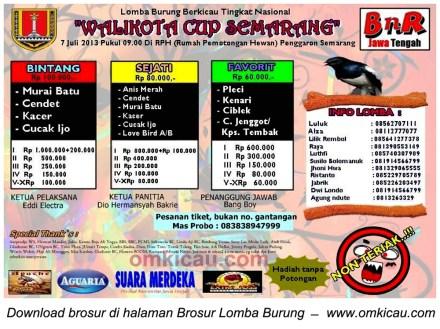 Brosur Lomba Burung Wali Kota Cup Semarang - 7 Juli 2013