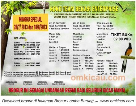 Brosur Lomba Burung Koko Team Bekasi Enterprise - 28 Juli 2013