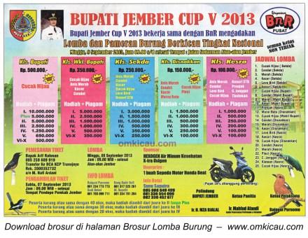 Brosur Lomba Burung Bupati Jember Cup V 8 Sept 2013