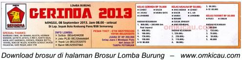 Brosur Lomba Burung Gerinda Cup Semarang 8 Sept 2013