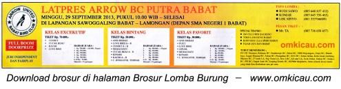 Brosur Latpres Arrow BC Putra Babat, Lamongan, 29 Sept 2013