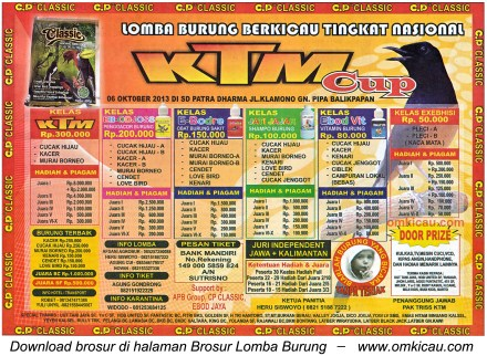 Brosur Lomba Burung Berkicau KTM Cup, Balikpapan, 6 Oktober 2013