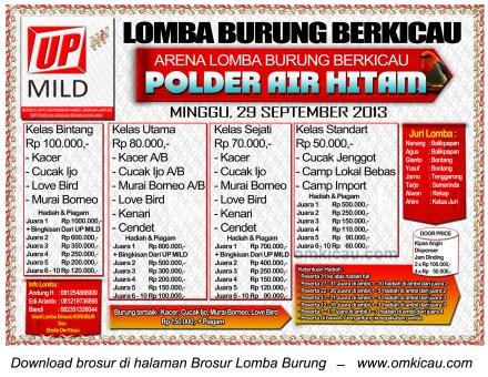 Brosur Lomba Burung Berkicau Polder Air Hitam Samarinda, 29 September 2013
